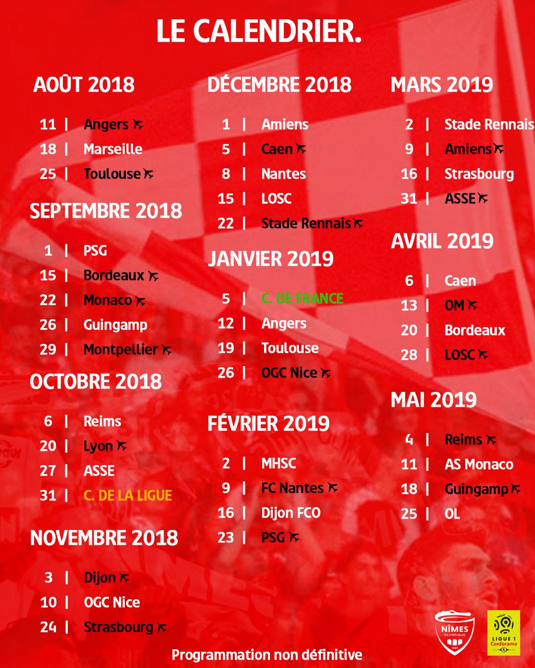 LA LIGUE 1 CONFORAMA : SAISON 2018-2019 Calendrier